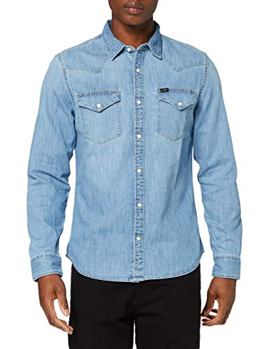 Lee Western Shirt Camisa, Frost Blue, X-Large para Hombre