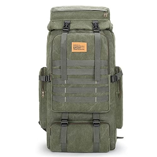 TH&Meoostny 70L Bolsa de Lona Grande para Acampar Mochilas Molle Bolsas de Escalada Senderismo Bolsa de Viaje al Aire Libre Style 1 Army Green