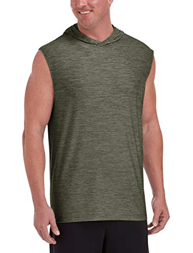 Amazon Essentials Men's Big & Tall Tech Stretch Sleeveless Pullover Hoodie, Olive Space Dye, 7XL