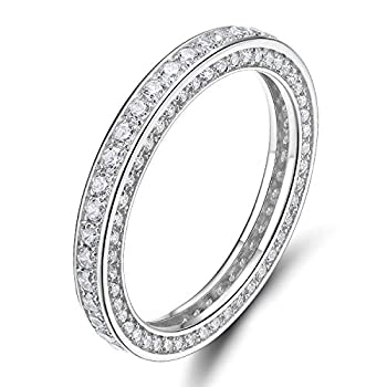 925 Sterling Silver Rings Cubic Zirconia Eternity Engagement Wedding Band Width 3MM Size 6.5 Silver 6.5