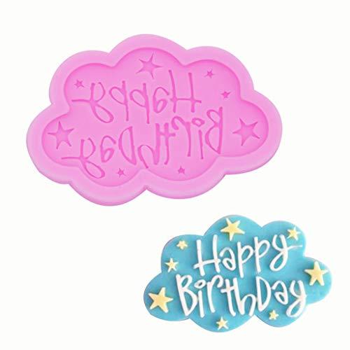 Gotian Happy Birthday Silikonform für Fondant/Kuchen, zum Dekorieren von Wolken/Spitzen – von Süßigkeiten bis zu unwiderstehlichen Karamellen, langlebig, 8,5 x 5,5 cm rose