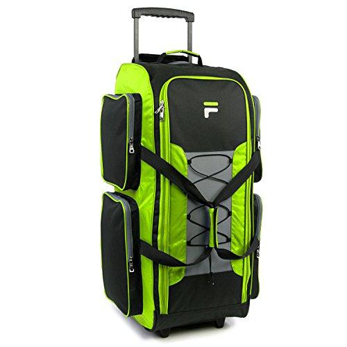 Fila 32' Lightweight Rolling Duffel, Neon Lime, One Size