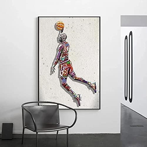 Arte del cartel 40x60cm Sin marco Póster de Michael Jordan Fly Dunk imágenes de baloncesto para decoración de sala de estar