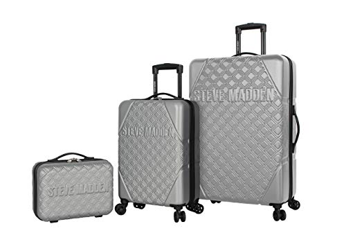 Steve Madden Karisma 3 Piece Spinner Suitcase Set Collection (One Size, Silver)