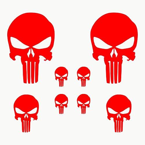 Autodomy Pegatinas Punisher Calavera Pack 8 Unidades para Coche o Moto (Rojo)