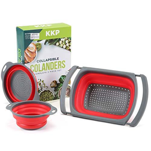 Kool Kitchen Pros 3er Sieb Set – Faltbare Siebe – BPA-freies Silikonsieb – Küchensieb als Nudelsieb, Abtropfsieb, Gebmüsesieb und Spülbeckensieb – Spülmaschinenfeste Seiher (Rot)