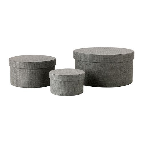 IKEA KVARNVIK–Box, grau, 3-teiliges Set