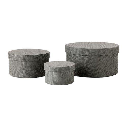Guardarropas KVARNVIK productos de gris juego de 3 cajas de almacenamiento con tapa (apta para guardar artículos pequeños como joyas, bufandas y otros accesorios)
