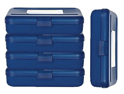 1InTheOffice Pencil Box, Translucent Blue, Plastic School Pencil Boxes, 4 Pack