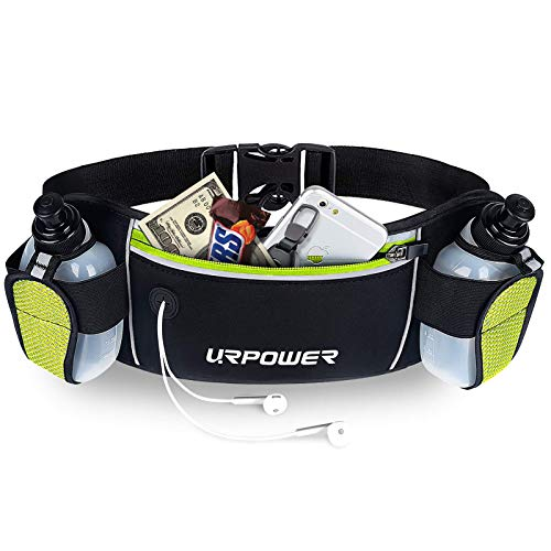 URPOWER Running Belt Multifunctional Zipper Pockets Water Resistant Waist Bag, With 2 Water Bottles Waist Pack for Running Hiking Cycling Climbing and for 6.1 inches Smartphones