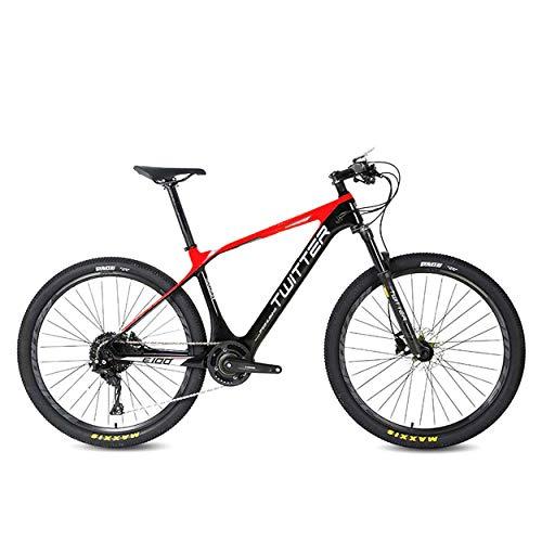 Super-ZS Bicicleta de montaña eléctrica de Fibra de Carbono, (incorporada/Externa) batería de Litio de 10 A, Bicicleta de montaña asistida por energía eléctrica Ligera para Viajes al Aire Libre
