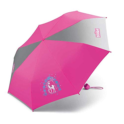 Scout Kinder Regenschirm Taschenschirm Schultaschenschirm mit großen Reflektionsflächen extra leicht Lilac Unicorn/Einhorn