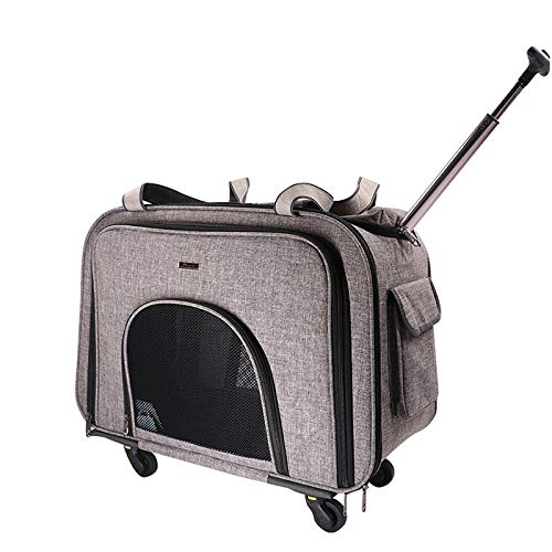 JCXOZ Soft Sided Pet Carrier Pet Trolley Case Dog Outdoor Trolley Bag Silent Wheel Portable Suitcase Pet Travel Bags for Cats and Dogs, Max Capacity 15KG (Color : Gray)