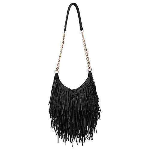 LUI SUI Women's Fashion Fringed Shoulder Bag Tassel Cross Body Bags (Black)
