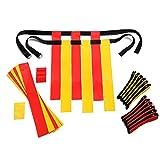 Flag Football Set Kids – Premium 14 Player, 62 Piece Kids Belts and Flags Kit Includes 3 Flags Per Belt Plus a Bonus 6 Replacement Flags