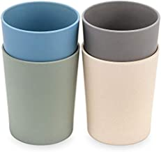 WeeSprout Bamboo Toddler Cups - 4 pc Set (10 fl oz) - Eco-Friendly, Non-Toxic, Non Plastic Cup Pack for Toddlers, Big Kids or Baby - Natural (Blue, Green, Gray, & Beige)