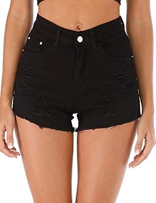Haola Womens Plus Size Ripped Hole Denim Shorts Fashion Raw Hem Distressed High Waisted Shorts Black S