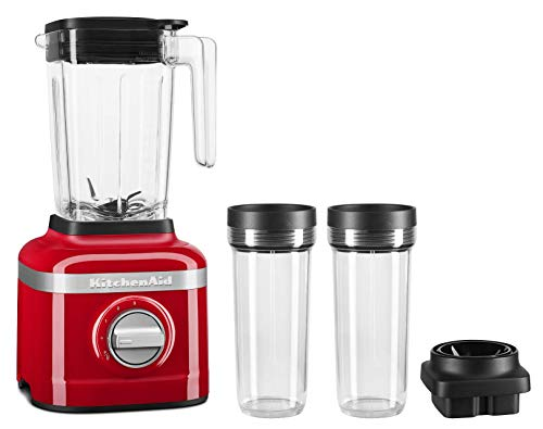 KitchenAid KSB1332PA 48oz, 3 Speed Ice Crushing Blender with 2 x 16oz Personal Jars to Blend and Go, Passion Red