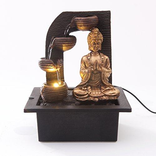 Creative Touch Fountain Edition Buda De Oro Con 4 Vasos De Agua Fuente De Agua Interior Con Luz LED | Tamaño 21 * 17.5 * 25 Cm | Enchufe 3 Pin UK Incluido |