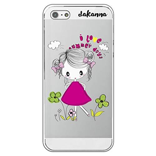 dakanna Funda para iPhone 5-5S - SE | Niña con Flores y Frase: I Love Summer Days | Carcasa de Gel Silicona Flexible | Fondo Transparente