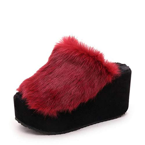 Zapatillas de cuña de Piel de Conejo Zapatillas de Felpa de Suela Gruesa para Mujer Zapatillas cálidas de Suela Gruesa