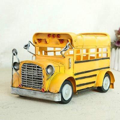 LIJIANZI Worth having - Soporte de la pluma del niño Modelo de autobús de la escuela Modelo de almacenamiento Retro Manual Retro Creativo Diseño único Dibujos animados Autobús Patrón de Lápiz Holder p