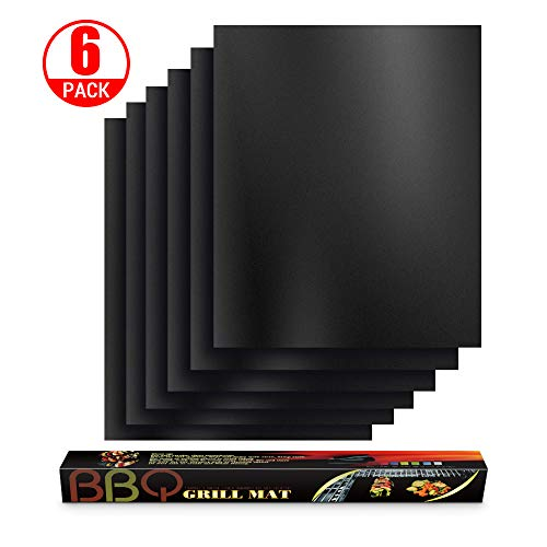 BBQ Grill Mats for Outdoor Grill Set of 6, 100% Non-Stick Grilling mat for Barbecue, Gas Grill, Charcoal, Baking, Reusable, Heavy Duty, Easy to Clean Outdoor Grilling Accessories- 16x13 inch Floor Grill Mats Pads