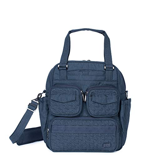 One main zipper compartment One front soft lined slip pocket with magnetic closure Three front zipper pockets Two magnetic flap closure pockets Two side cargo pockets with magnetic closure