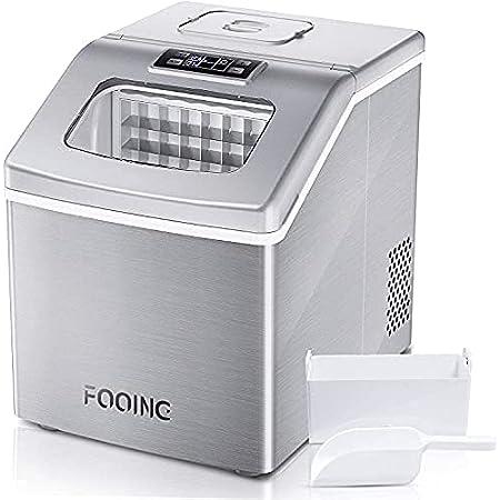 Machine glacon FOOING Machine à glaçons autonettoyante automatique avec 18KG / 24H avec affichage à LED Parfait pour les fêtes Boissons mélangées, Ice Machine avec pelle à glace et panier