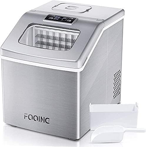Macchina Ghiaccio FOOING Macchina per il ghiaccio Macchina per cubetti di ghiaccio automatica autopulente con 18 kg / 24 ore Perfetto per feste, bevande miste, macchina del ghiaccio