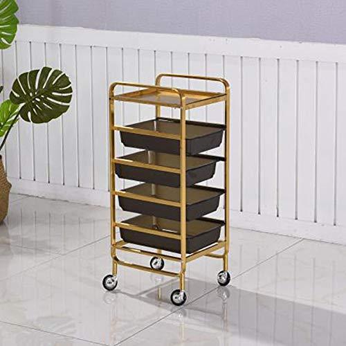 FF Hotel Wäschewagen 5-Tier Beauty Roller Wagen Mit Schublade, Frisuren, Make-up-Salon SPA Barber Storage Utility Rollen Servierwagen, 35 × 32 × 86cm (Color : Gold, Size : 35×32×86cm)