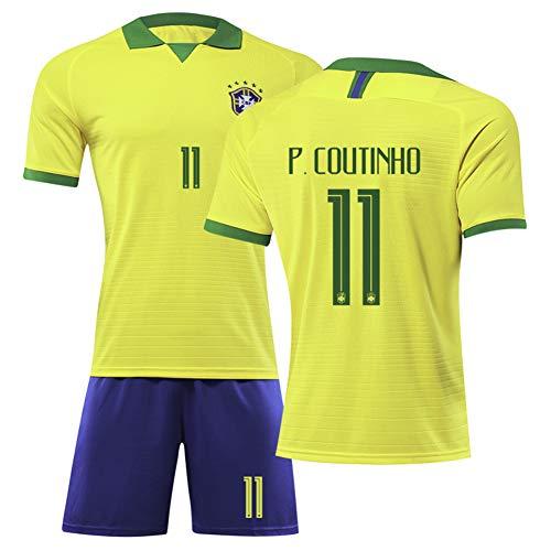 AELN kindervoetbalshirt set wit pak 11 # Coutinho unisex trainingsuniform sportswear mesh sneldrogend fans sweatshirt met korte mouwen