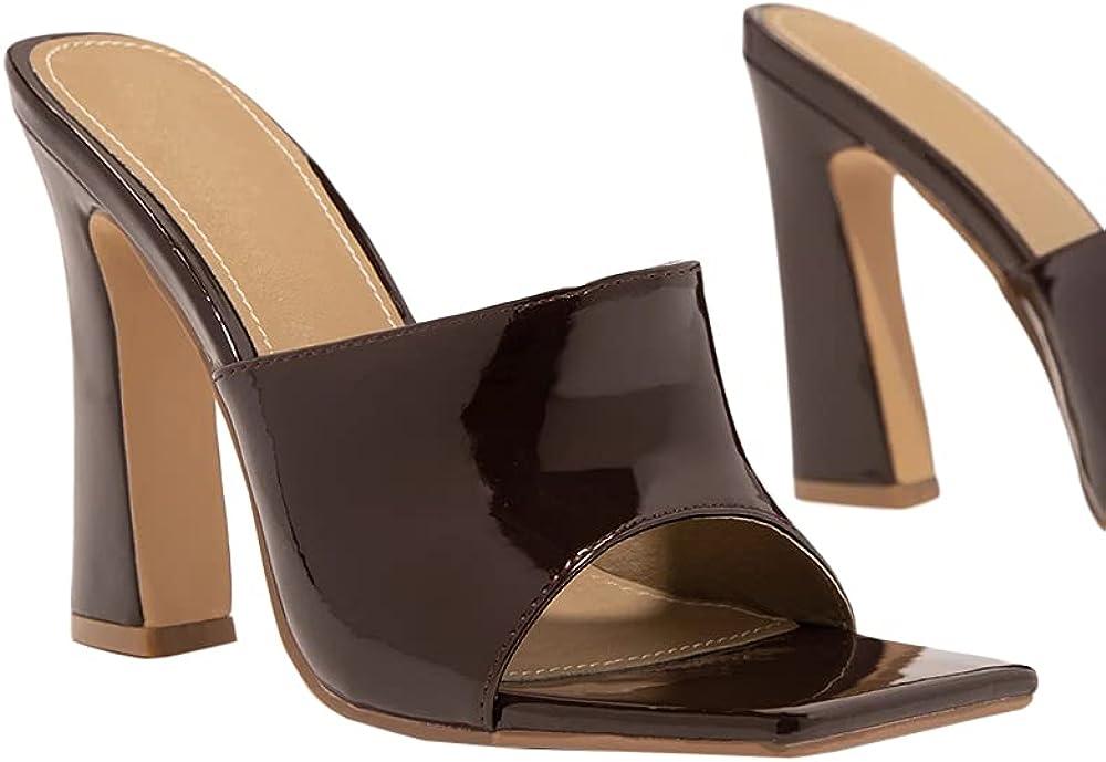 Coziavenue Womens High Heeled Pump Mules Wide Band Patent Leather Square Toe Platform Slides Sandals