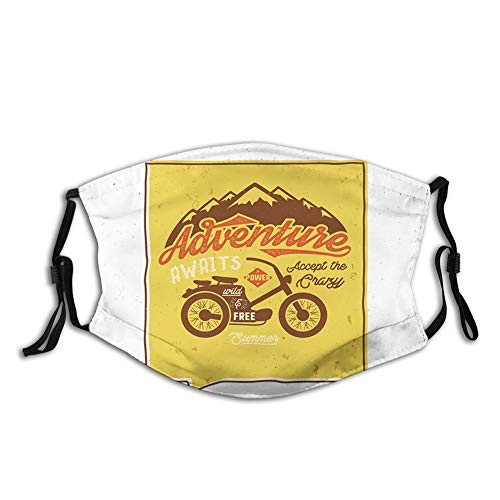 Dustproof Face Mask,Reusable,Washable Cloth,Face Cover,Cover for Dust Adults Retro Poster with Wild and Free Quote Motorbike Mountains