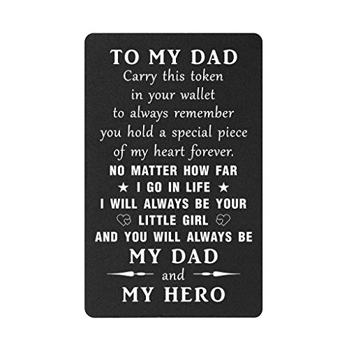 TANWIH Dad I Will Always Be Your Little Girl, Dad Birthday Gifts Wallet Card Insert from Daughter, Father of the Bride Gifts, My Hero Dad, Deployment Gifts, Fathers Day, Christmas