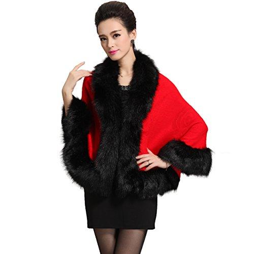 Caracilia Women Bridal Faux Fur Shawl Wraps Cloak Coat Sweater Red