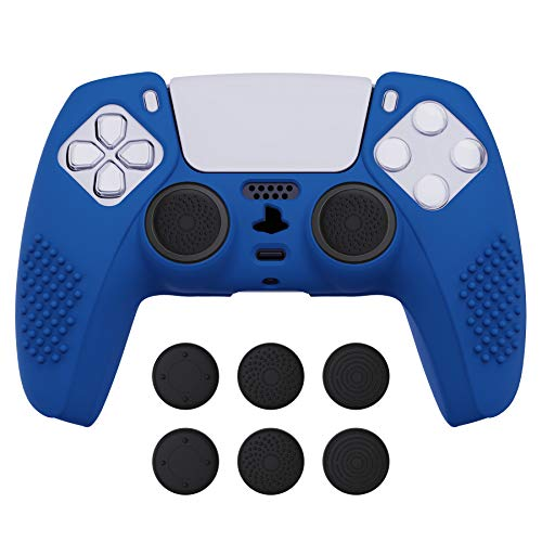 eXtremeRate PlayVital Blue 3D Studded Edition Anti-Slip Silicone Cover Skin for Playstation 5 Controller, Soft Rubber Case Protector for PS5 Wireless Controller with 6 Black Thumb Grip Caps