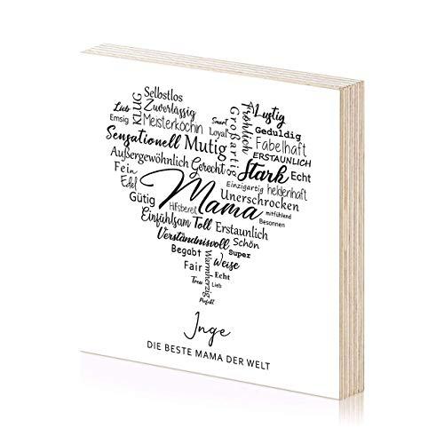 Beste Mama Muttertagsgeschenk personalisiertes Holzbild 15x15 zum Hinstellen oder Aufhängen als Geschenk-Idee