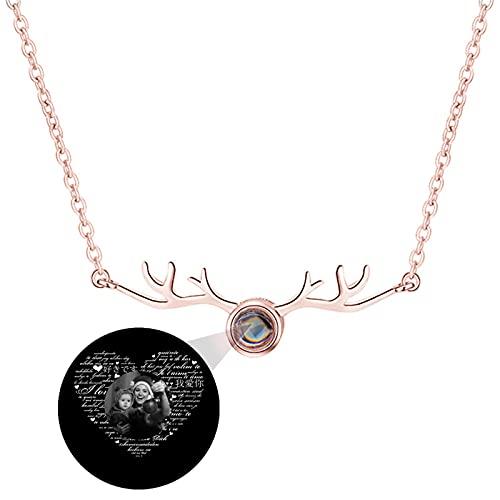 Collar de 100 idiomas diferentes Collar de proyección personalizado TE AMO Collar de foto Colgante de asta para mujer(Oro rosa Blanco y negro 24)