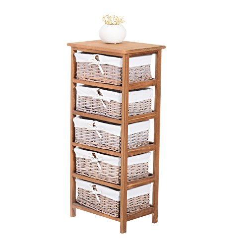 HOMCOM 5 Drawer Dresser Wicker Basket Storage Shelf Unit Wooden Frame Home Organisation Cabinet Bedroom Office Furniture Natural Finish