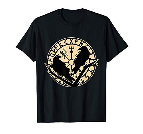 Odin Ravens Huginn & Muninn - Norse Mythology Vegvisir T-Shirt
