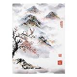 Bilderwelten Quadro in Vetro - Giapponese Disegno ad Acquerello Ciliegio E Montagne 80 x 60cm