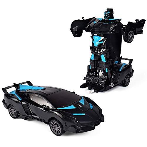Automóviles de control remoto, RC Racing para Boys, Coche de Transformación de Transformación de un solo clic, Rotación de 360 °, Vehículo de escala 1:18 con luces, Vehículo deformado para niños y a