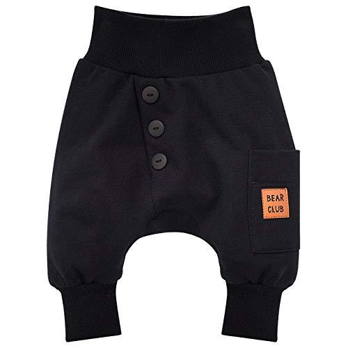 Pinokio - Bears Club - Baby Kinder Jungen Hose 100% Baumwolle Schwarz Braun Pumphose Jogginghose Haremshose Unisex Schlupfhose 62-104 cm (68, Schwarz)