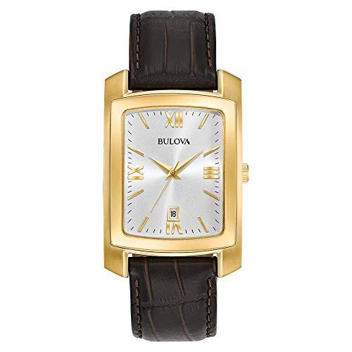 Bulova Herren Analog Quarz Uhr mit Leder Armband 97B162