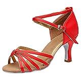 Zapatos de Baile Latino de Tacón Alto/Medio para Mujer,ZARLLE Mujeres&Niña Zapatos Latinos de Baile Zapatillas de Baile de Salón Salsa Performance Calzado de Danza,Modelo