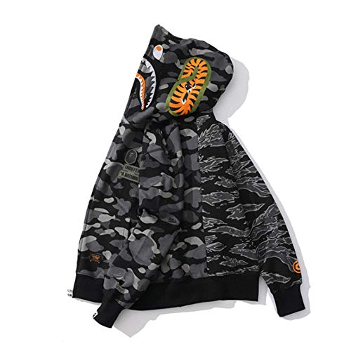 ZDZQDD Bape Hoodie Shark Camo Bape Jacket Full Zip Up for Men Women Teenager, Aumenta Il Tuo Valore Cool del 100%-Nero_XL