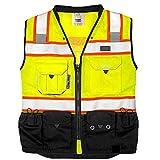 REXZUS (C) Vest Mens Class 2 Black Series Safety Vest With Zipper and Utility Pockets Premium Black Series Surveyors Vest (XX-Large, Yellow/Black)