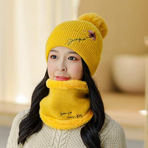 DLSM Hut Frauen verdickt warmen Hut All-Match Blumenkopf Hut Lätzchen gestrickte kalte Mütze Geeignet für Outdoor-Sport, Freizeit, Angeln-C3