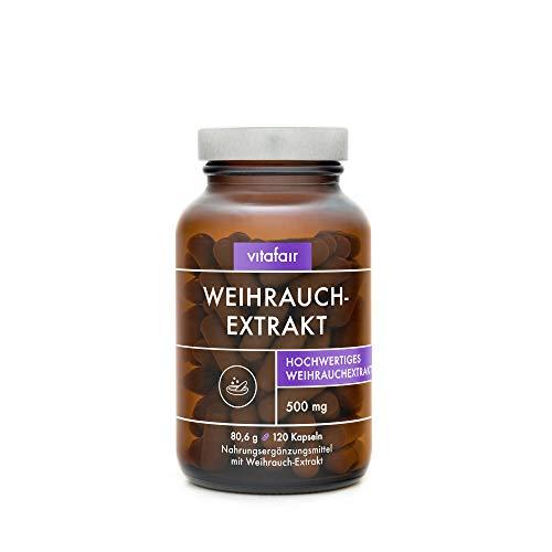 VITAFAIR Weihrauch Extrakt 500mg (Boswellia Serrata) - Vegan, Braunglas, Ohne Magnesiumstearat, German Quality - 85% Boswelliasäure = 425mg - 120 Hochdosierte Kapseln